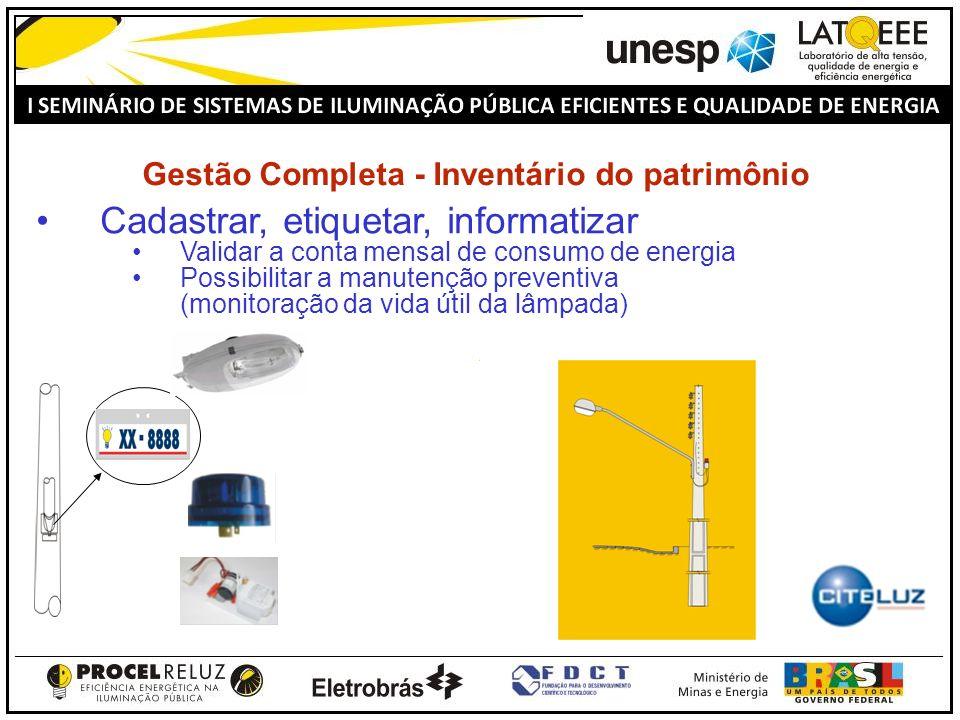 Gestão Completa - Inventário do patrimônio Cadastrar, etiquetar, informatizar Validar a conta mensal de consumo de energia Possibilitar a manutenção p