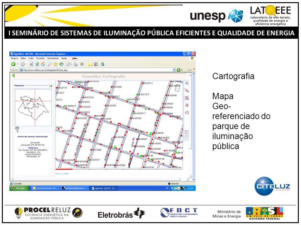 Cartografia Mapa Geo- referenciado do parque de iluminação pública