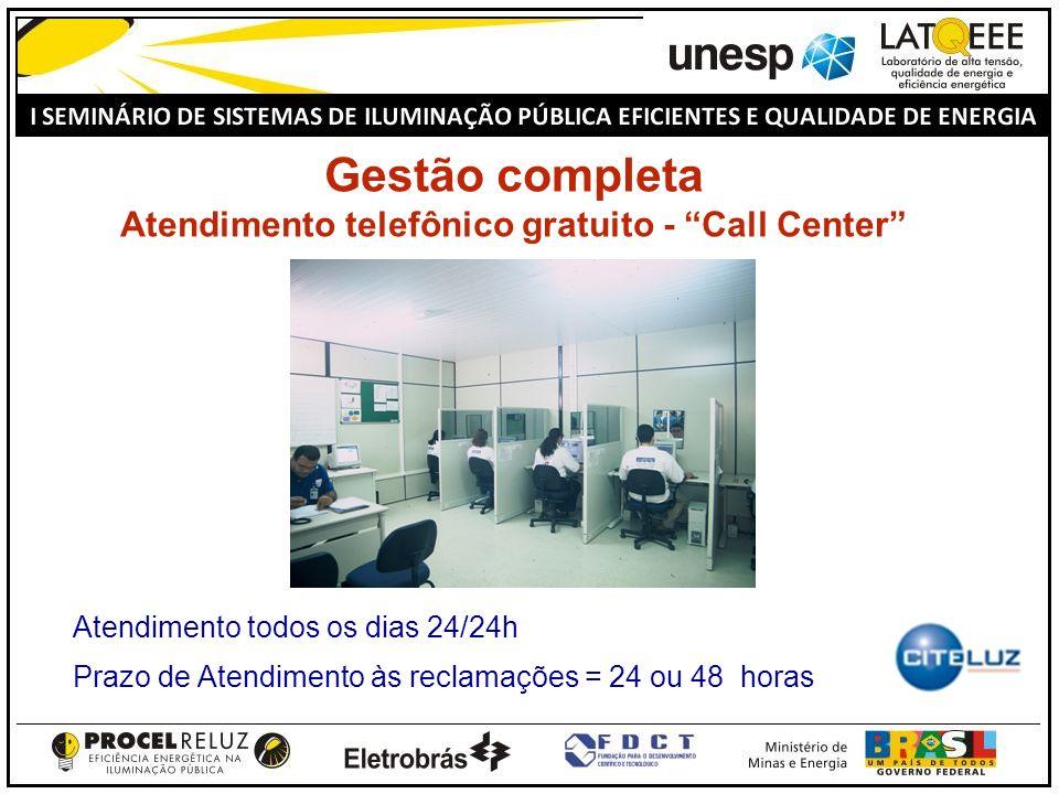 Gestão completa Atendimento telefônico gratuito - Call Center Atendimento todos os dias 24/24h Prazo de Atendimento às reclamações = 24 ou 48 horas