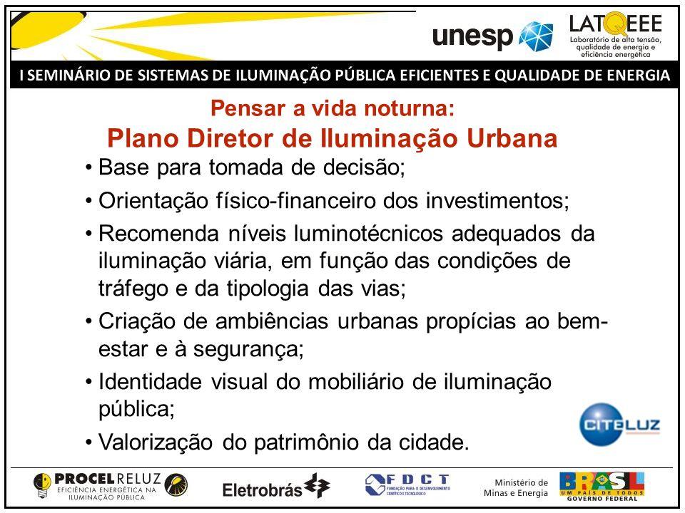 Pensar a vida noturna: Plano Diretor de Iluminação Urbana Base para tomada de decisão; Orientação físico-financeiro dos investimentos; Recomenda nívei