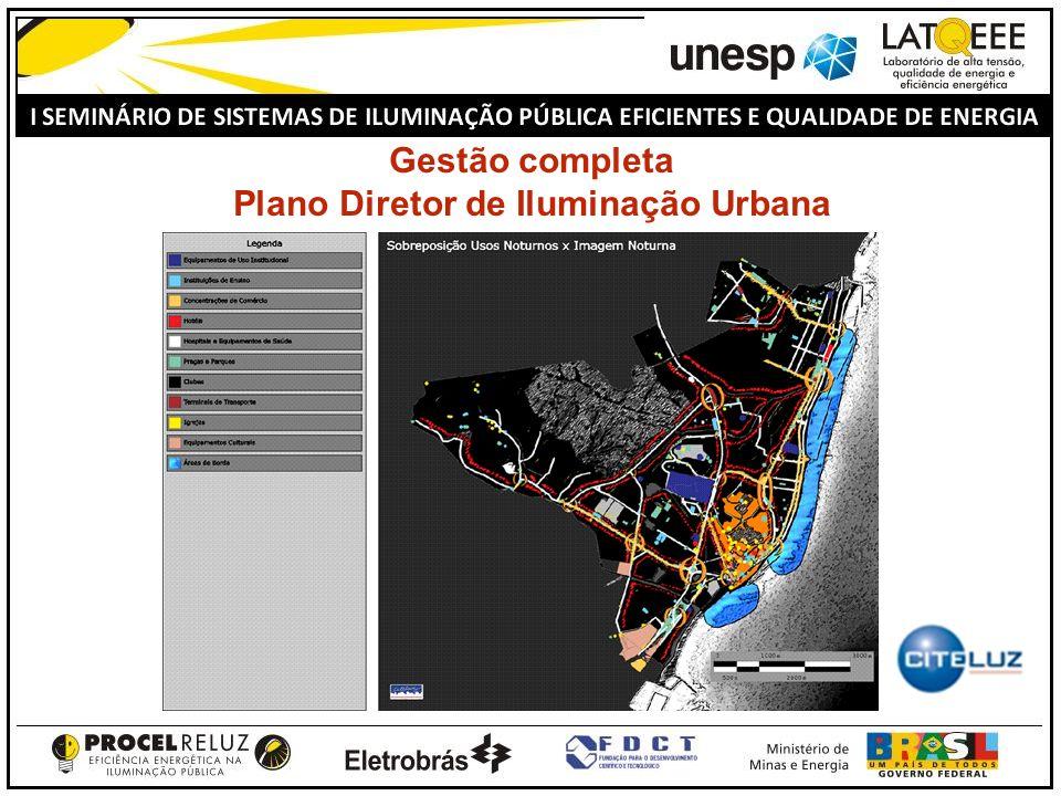 Gestão completa Plano Diretor de Iluminação Urbana