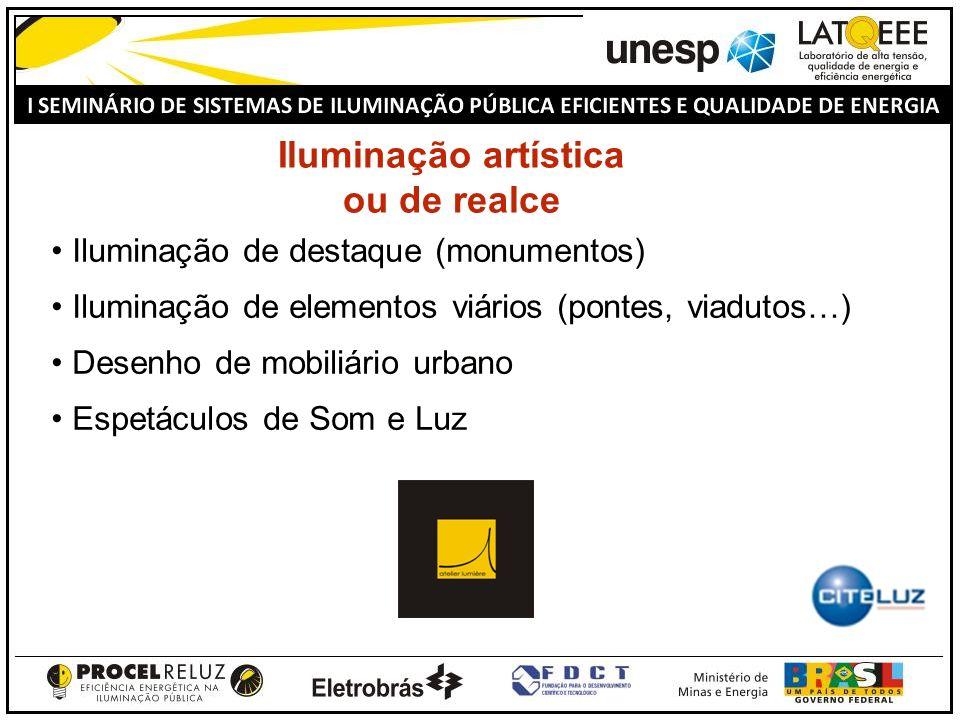 Iluminação artística ou de realce Iluminação de destaque (monumentos) Iluminação de elementos viários (pontes, viadutos…) Desenho de mobiliário urbano