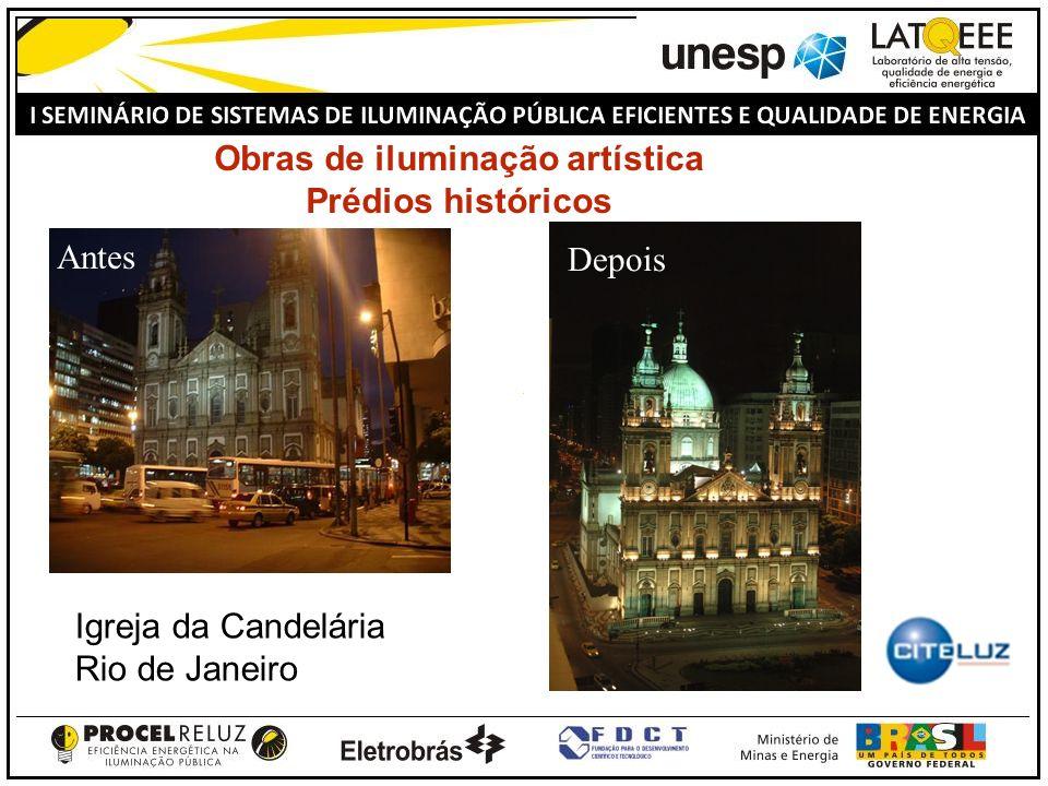 Obras de iluminação artística Prédios históricos Antes Depois Igreja da Candelária Rio de Janeiro