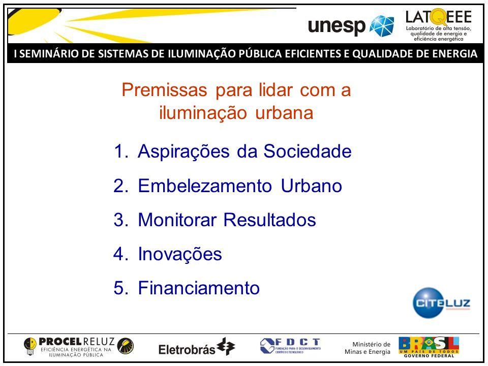 Premissas para lidar com a iluminação urbana 1.Aspirações da Sociedade 2.Embelezamento Urbano 3.Monitorar Resultados 4.Inovações 5.Financiamento