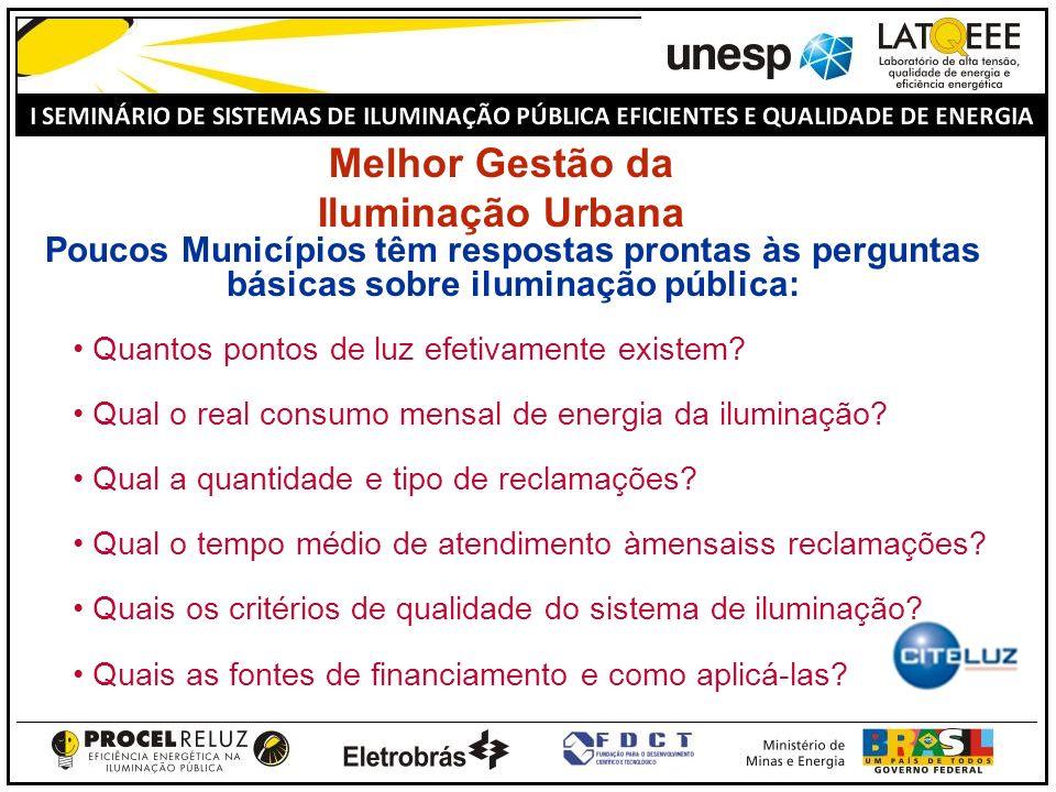 Melhor Gestão da Iluminação Urbana Poucos Municípios têm respostas prontas às perguntas básicas sobre iluminação pública: Quantos pontos de luz efetiv