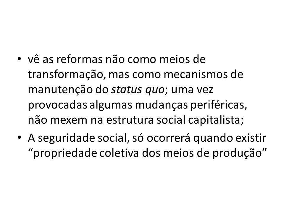 vê as reformas não como meios de transformação, mas como mecanismos de manutenção do status quo; uma vez provocadas algumas mudanças periféricas, não