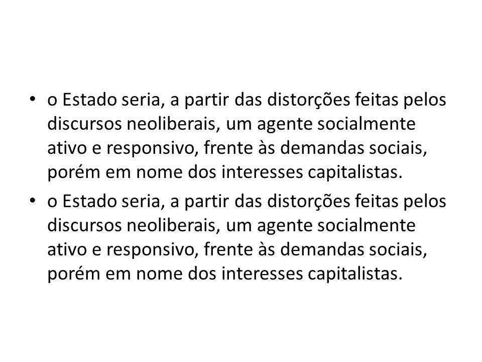 o Estado seria, a partir das distorções feitas pelos discursos neoliberais, um agente socialmente ativo e responsivo, frente às demandas sociais, poré