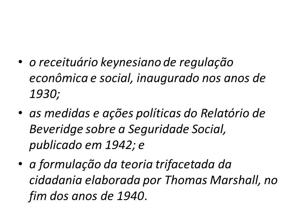 o receituário keynesiano de regulação econômica e social, inaugurado nos anos de 1930; as medidas e ações políticas do Relatório de Beveridge sobre a