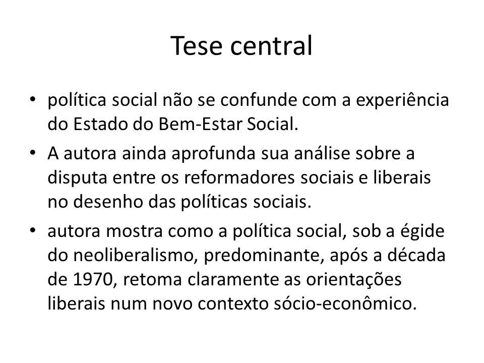 Tese central política social não se confunde com a experiência do Estado do Bem-Estar Social. A autora ainda aprofunda sua análise sobre a disputa ent