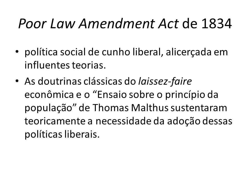 Poor Law Amendment Act de 1834 política social de cunho liberal, alicerçada em influentes teorias. As doutrinas clássicas do laissez-faire econômica e