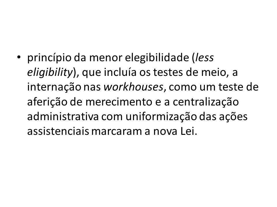 princípio da menor elegibilidade (less eligibility), que incluía os testes de meio, a internação nas workhouses, como um teste de aferição de merecime