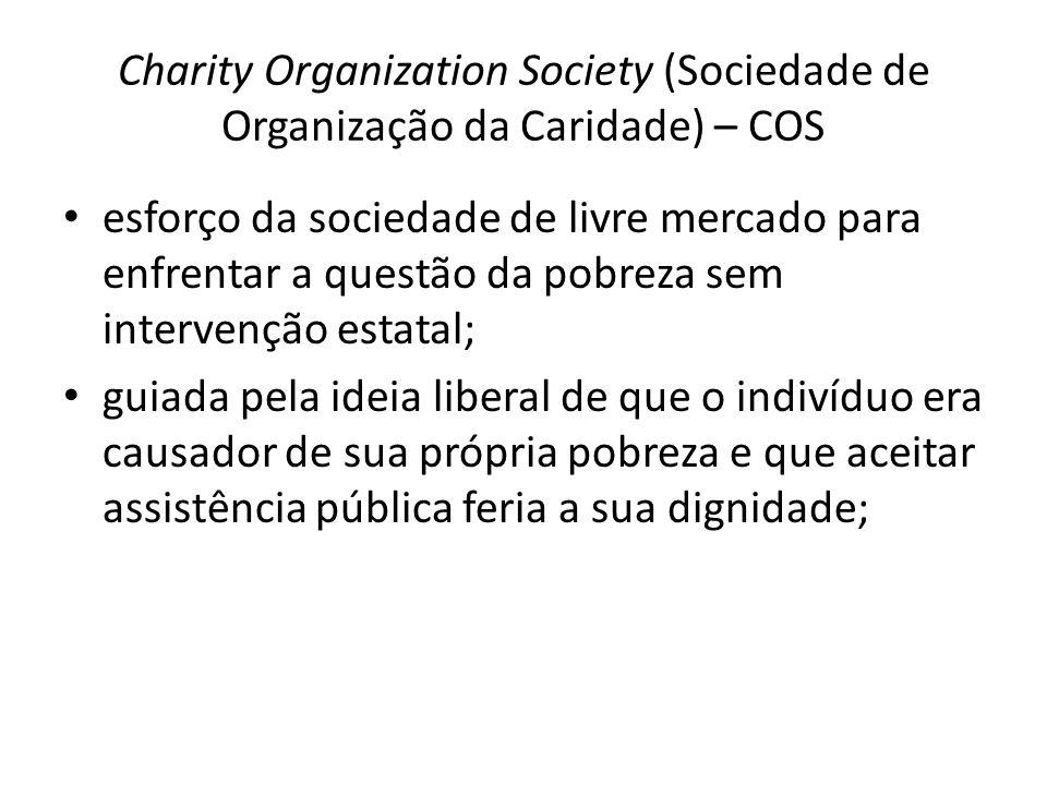 Charity Organization Society (Sociedade de Organização da Caridade) – COS esforço da sociedade de livre mercado para enfrentar a questão da pobreza se