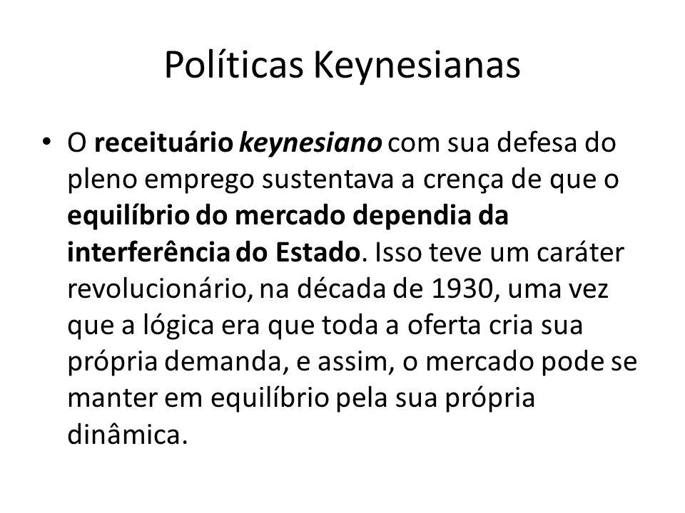 Políticas Keynesianas O receituário keynesiano com sua defesa do pleno emprego sustentava a crença de que o equilíbrio do mercado dependia da interfer