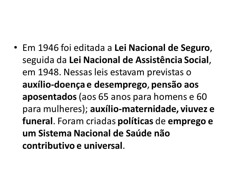 Em 1946 foi editada a Lei Nacional de Seguro, seguida da Lei Nacional de Assistência Social, em 1948. Nessas leis estavam previstas o auxílio-doença e