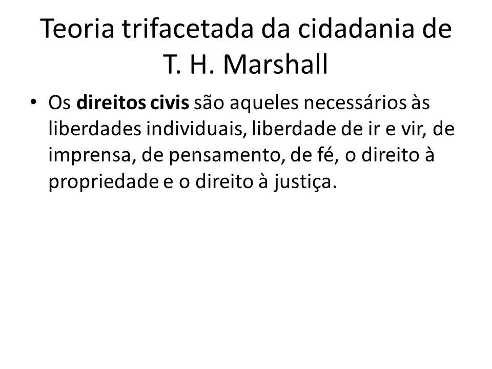 Teoria trifacetada da cidadania de T. H. Marshall Os direitos civis são aqueles necessários às liberdades individuais, liberdade de ir e vir, de impre