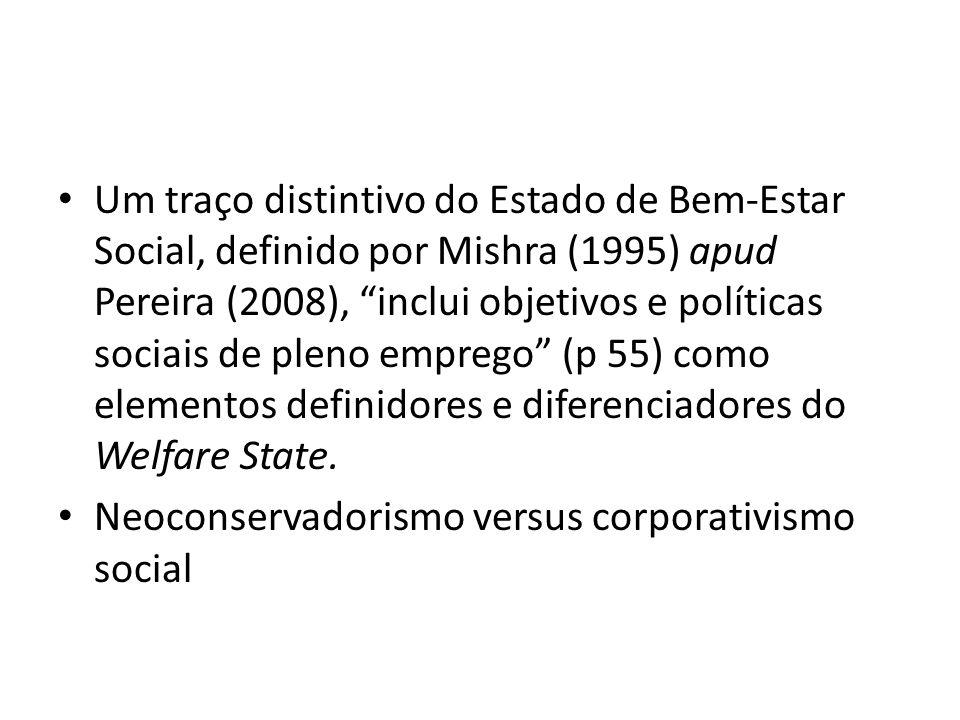 Um traço distintivo do Estado de Bem-Estar Social, definido por Mishra (1995) apud Pereira (2008), inclui objetivos e políticas sociais de pleno empre