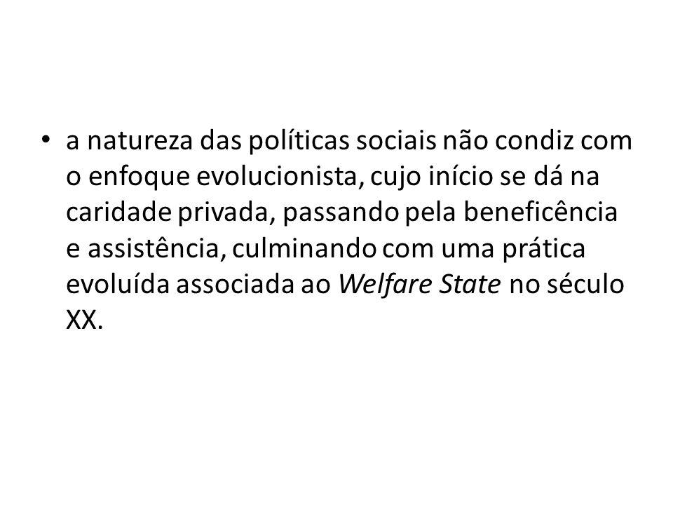 a natureza das políticas sociais não condiz com o enfoque evolucionista, cujo início se dá na caridade privada, passando pela beneficência e assistênc
