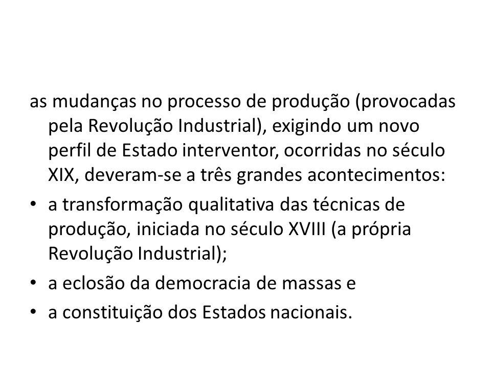 as mudanças no processo de produção (provocadas pela Revolução Industrial), exigindo um novo perfil de Estado interventor, ocorridas no século XIX, de