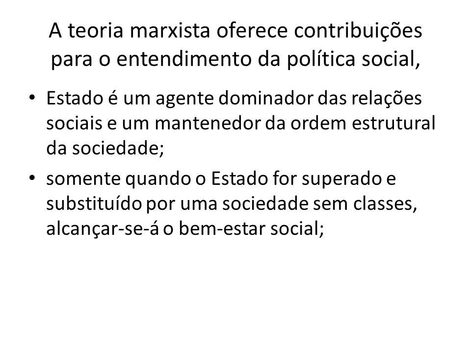 A teoria marxista oferece contribuições para o entendimento da política social, Estado é um agente dominador das relações sociais e um mantenedor da o
