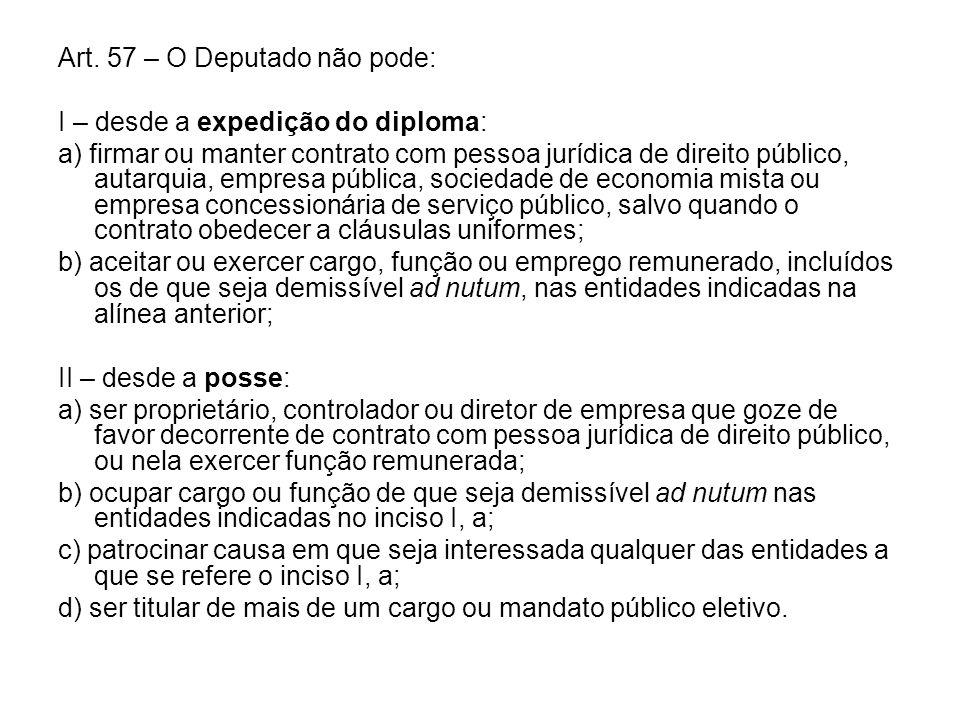 Art. 57 – O Deputado não pode: I – desde a expedição do diploma: a) firmar ou manter contrato com pessoa jurídica de direito público, autarquia, empre