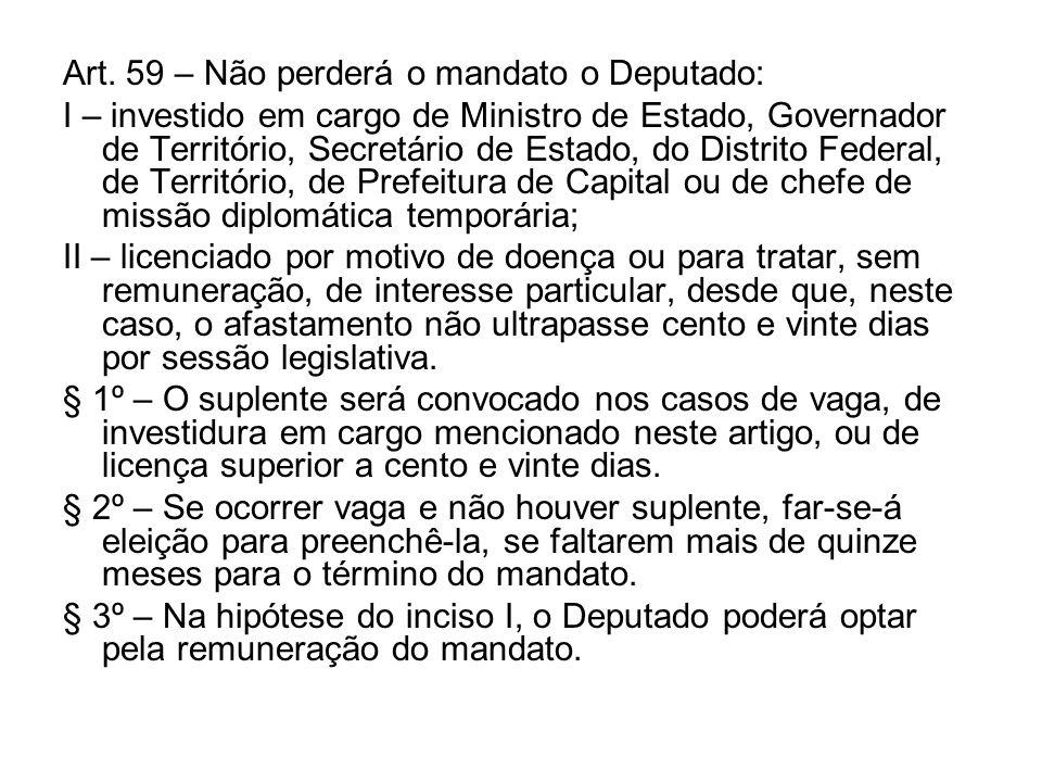 Art. 59 – Não perderá o mandato o Deputado: I – investido em cargo de Ministro de Estado, Governador de Território, Secretário de Estado, do Distrito