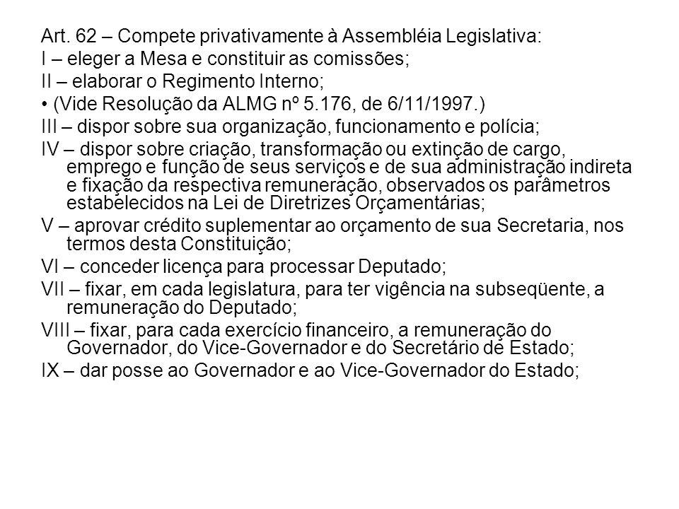 Art. 62 – Compete privativamente à Assembléia Legislativa: I – eleger a Mesa e constituir as comissões; II – elaborar o Regimento Interno; (Vide Resol