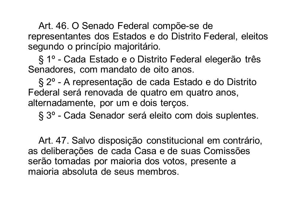 Art. 46. O Senado Federal compõe-se de representantes dos Estados e do Distrito Federal, eleitos segundo o princípio majoritário. § 1º - Cada Estado e