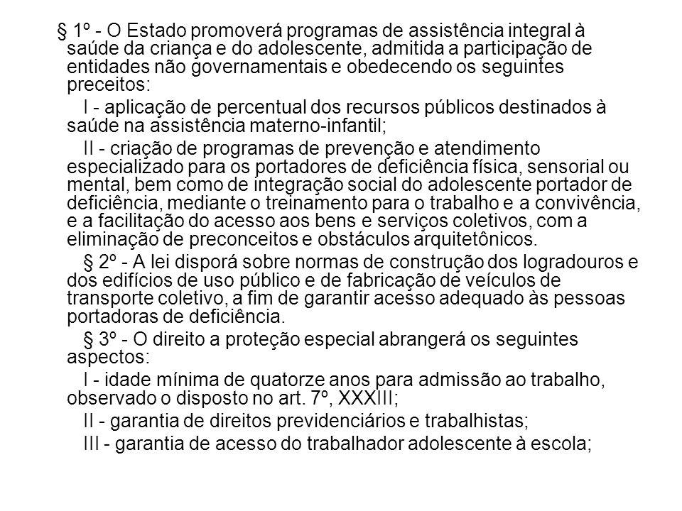 § 1º - O Estado promoverá programas de assistência integral à saúde da criança e do adolescente, admitida a participação de entidades não governamenta