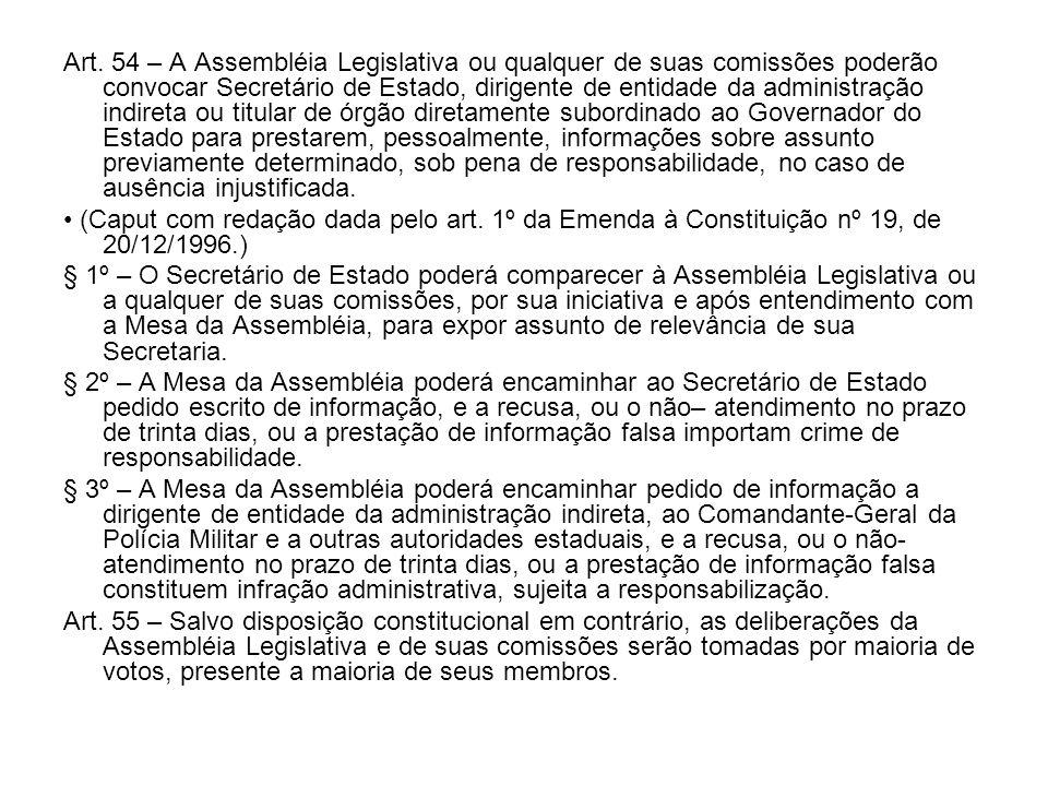 Art. 54 – A Assembléia Legislativa ou qualquer de suas comissões poderão convocar Secretário de Estado, dirigente de entidade da administração indiret