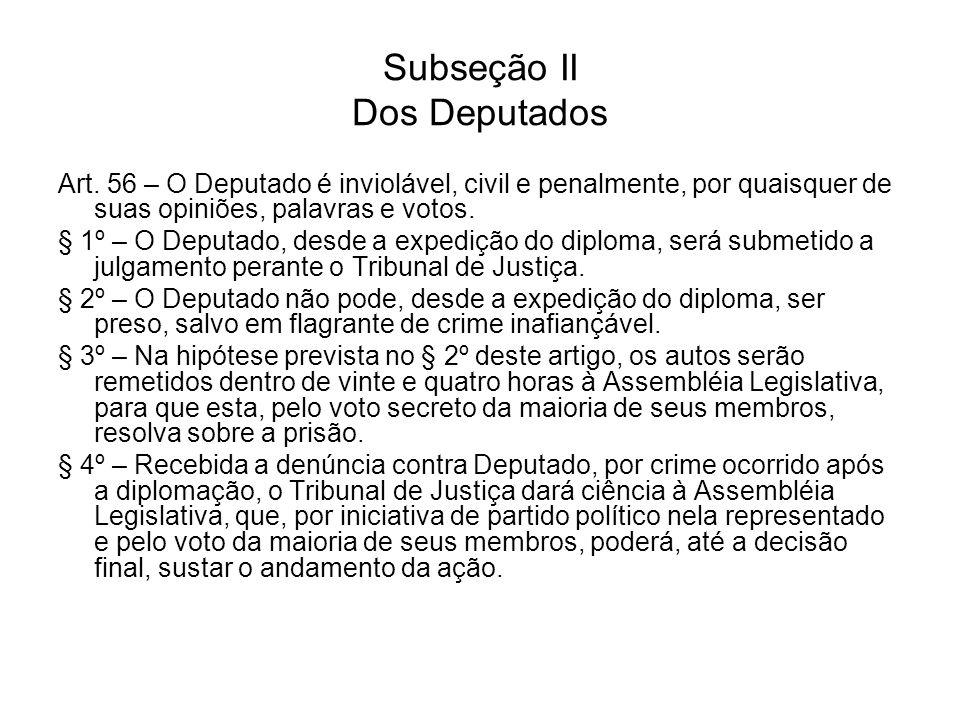 Subseção II Dos Deputados Art. 56 – O Deputado é inviolável, civil e penalmente, por quaisquer de suas opiniões, palavras e votos. § 1º – O Deputado,