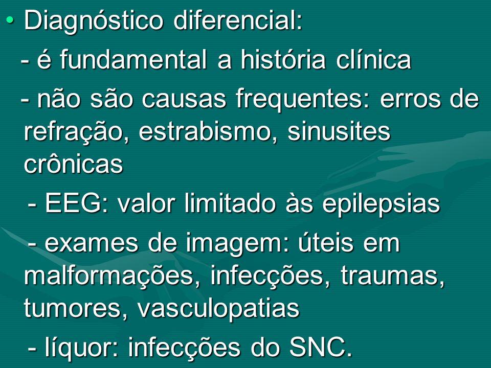 Diagnóstico diferencial:Diagnóstico diferencial: - é fundamental a história clínica - é fundamental a história clínica - não são causas frequentes: er