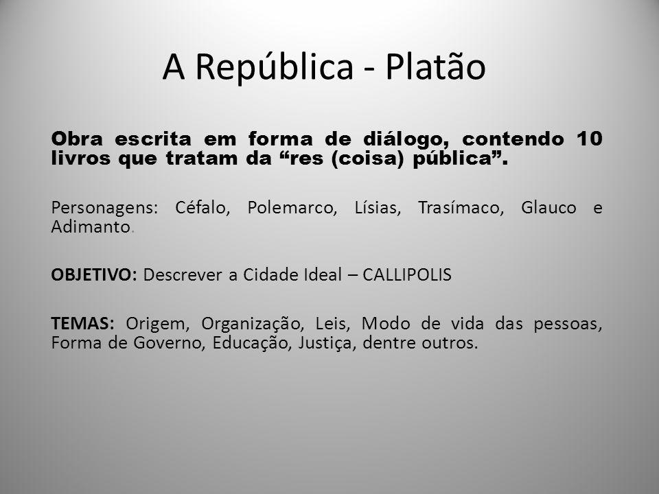 A República - Platão Obra escrita em forma de diálogo, contendo 10 livros que tratam da res (coisa) pública. Personagens: Céfalo, Polemarco, Lísias, T