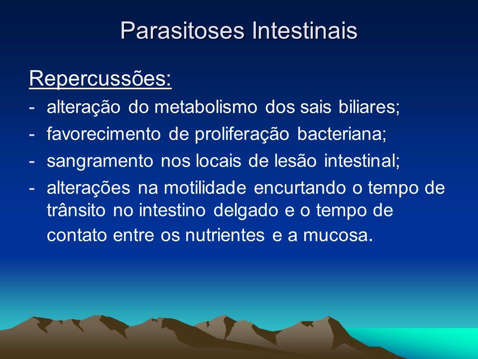 Parasitoses Intestinais Repercussões: -alteração do metabolismo dos sais biliares; -favorecimento de proliferação bacteriana; -sangramento nos locais