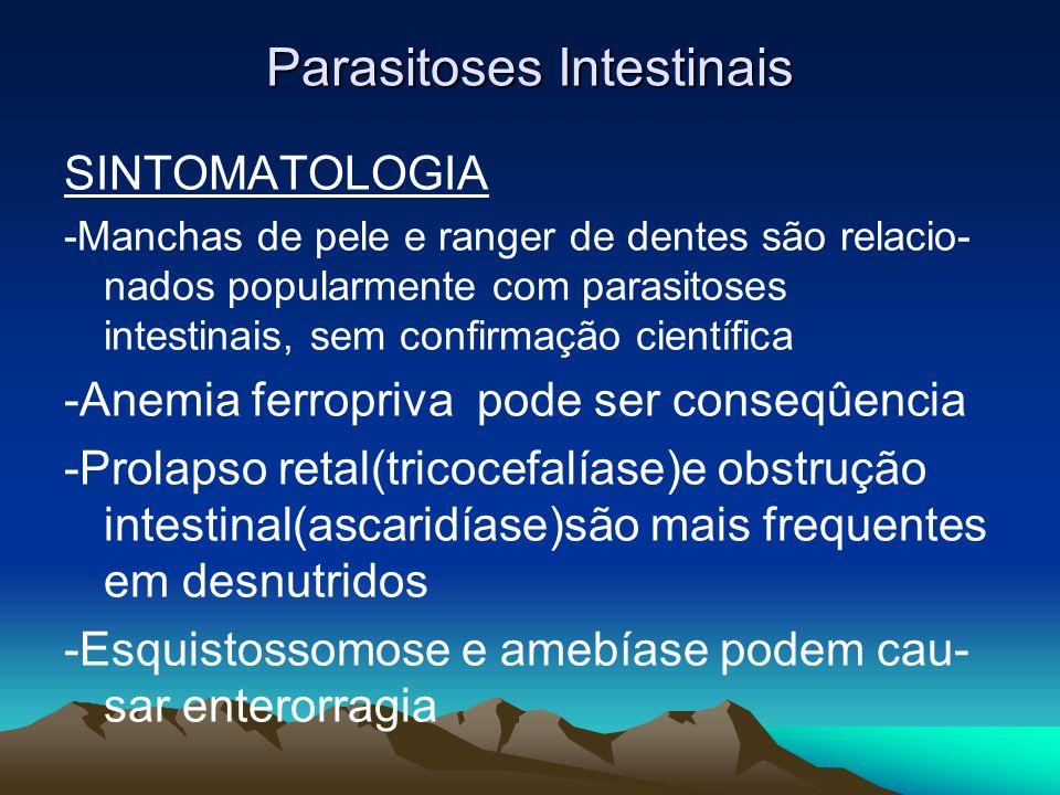 Parasitoses Intestinais SINTOMATOLOGIA -Manchas de pele e ranger de dentes são relacio- nados popularmente com parasitoses intestinais, sem confirmaçã