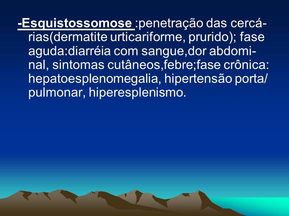 -Esquistossomose :penetração das cercá- rias(dermatite urticariforme, prurido); fase aguda:diarréia com sangue,dor abdomi- nal, sintomas cutâneos,febr
