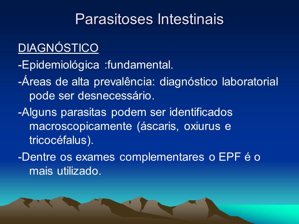 Parasitoses Intestinais DIAGNÓSTICO -Epidemiológica :fundamental. -Áreas de alta prevalência: diagnóstico laboratorial pode ser desnecessário. -Alguns