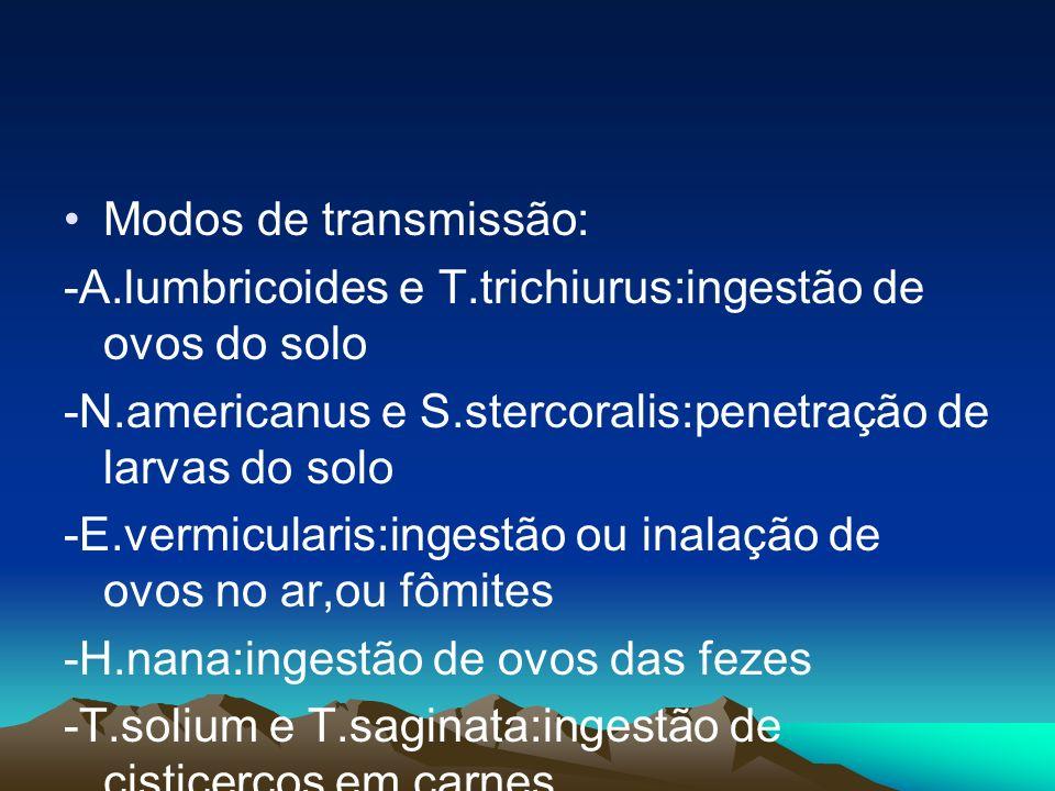 Modos de transmissão: -A.lumbricoides e T.trichiurus:ingestão de ovos do solo -N.americanus e S.stercoralis:penetração de larvas do solo -E.vermicular