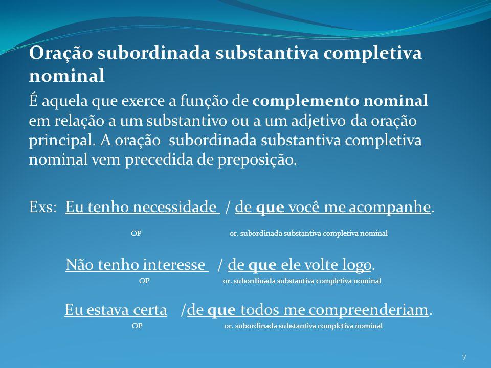 Oração subordinada substantiva completiva nominal É aquela que exerce a função de complemento nominal em relação a um substantivo ou a um adjetivo da