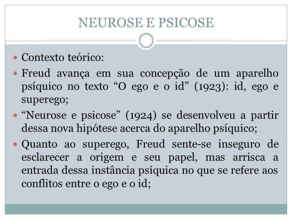 NEUROSE E PSICOSE Contexto teórico: Freud avança em sua concepção de um aparelho psíquico no texto O ego e o id (1923): id, ego e superego; Neurose e