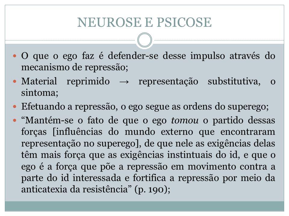 NEUROSE E PSICOSE O que o ego faz é defender-se desse impulso através do mecanismo de repressão; Material reprimido representação substitutiva, o sint