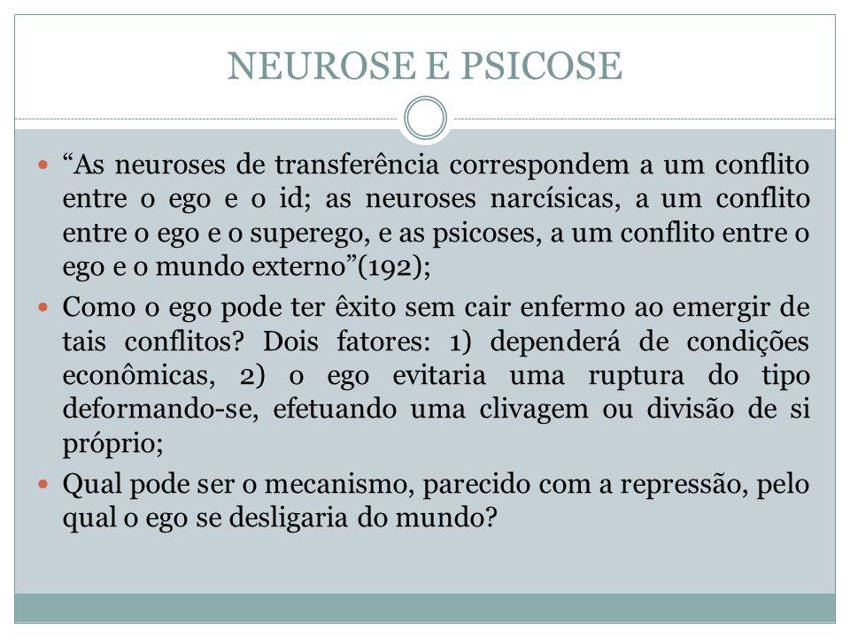 NEUROSE E PSICOSE As neuroses de transferência correspondem a um conflito entre o ego e o id; as neuroses narcísicas, a um conflito entre o ego e o su