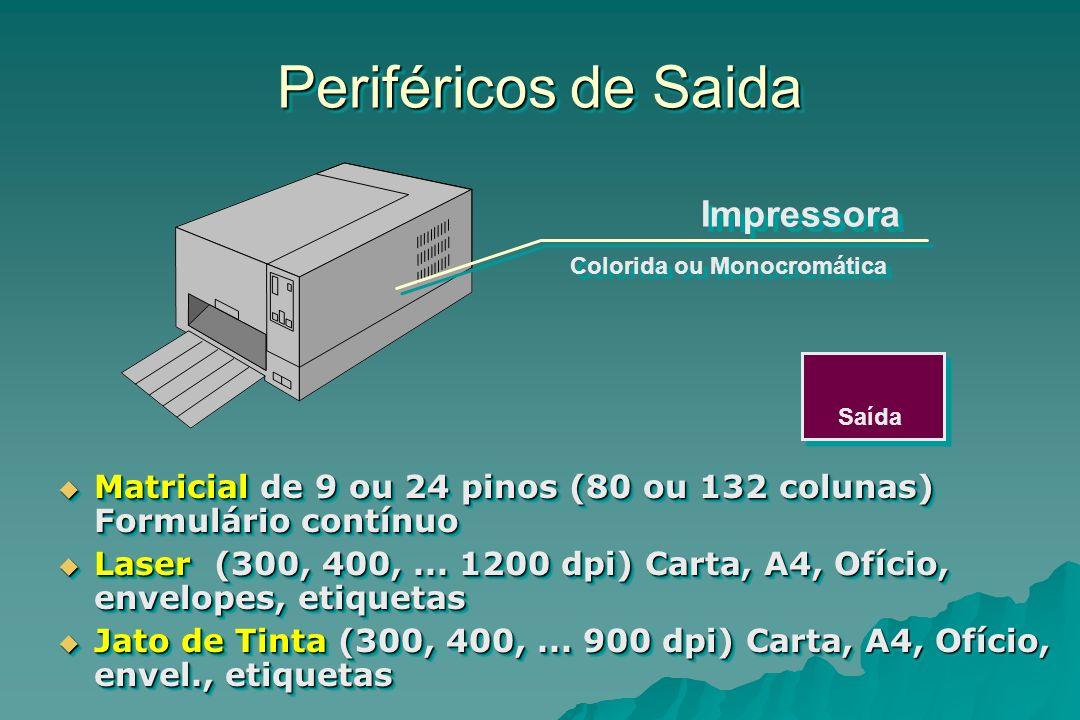 Periféricos de Saida Saída Impressora Matricial de 9 ou 24 pinos (80 ou 132 colunas) Formulário contínuo Matricial de 9 ou 24 pinos (80 ou 132 colunas