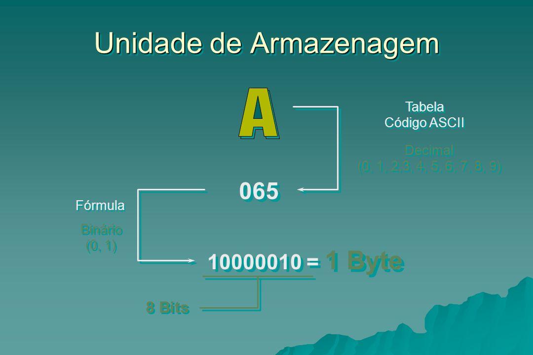 Unidade de Armazenagem 065 10000010 = 1 Byte Decimal (0, 1, 2,3, 4, 5, 6, 7, 8, 9) Decimal (0, 1, 2,3, 4, 5, 6, 7, 8, 9) Binário (0, 1) Binário (0, 1)