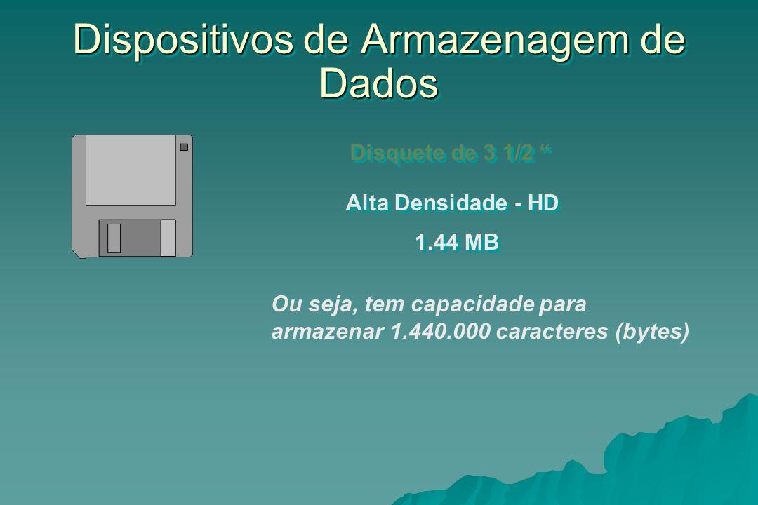 Dispositivos de Armazenagem de Dados Disquete de 3 1/2 Alta Densidade - HD 1.44 MB Ou seja, tem capacidade para armazenar 1.440.000 caracteres (bytes)