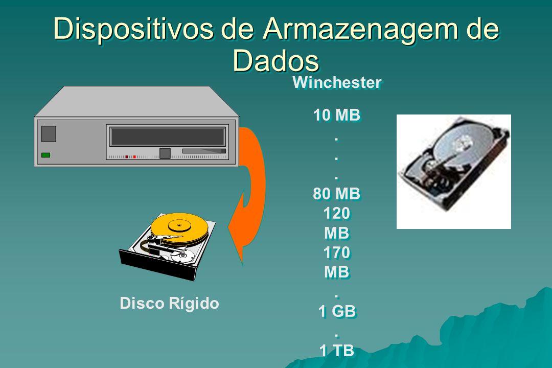 Dispositivos de Armazenagem de Dados Winchester 10 MB. 80 MB 120 MB 170 MB. 1 GB. 1 TB. n TB 10 MB. 80 MB 120 MB 170 MB. 1 GB. 1 TB. n TB Disco Rígido