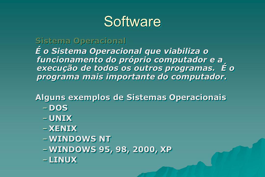 SoftwareSoftware Sistema Operacional É o Sistema Operacional que viabiliza o funcionamento do próprio computador e a execução de todos os outros progr