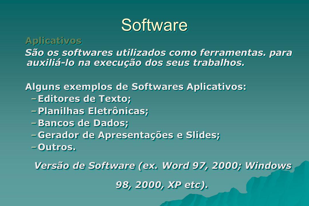 SoftwareSoftware Aplicativos São os softwares utilizados como ferramentas. para auxiliá-lo na execução dos seus trabalhos. Alguns exemplos de Software