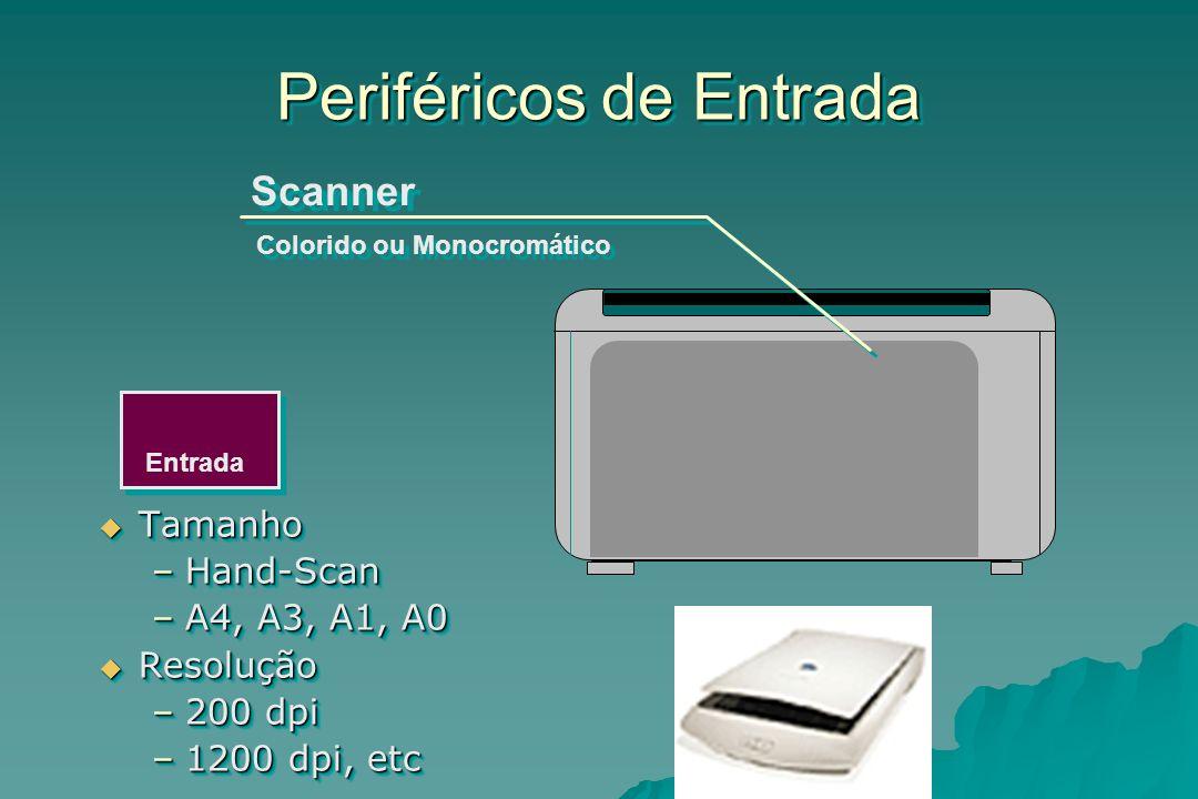Entrada Periféricos de Entrada Scanner Colorido ou Monocromático Tamanho Tamanho –Hand-Scan –A4, A3, A1, A0 Resolução Resolução –200 dpi –1200 dpi, et