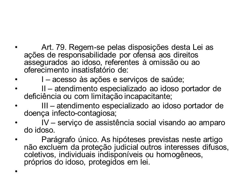 Art. 79. Regem-se pelas disposições desta Lei as ações de responsabilidade por ofensa aos direitos assegurados ao idoso, referentes à omissão ou ao of