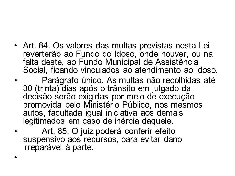 Art. 84. Os valores das multas previstas nesta Lei reverterão ao Fundo do Idoso, onde houver, ou na falta deste, ao Fundo Municipal de Assistência Soc